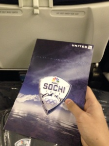 A custom menu for our NBC charter flight to Sochi.