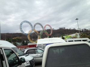 The Olympic Rings greet visitors when they first leave the airport