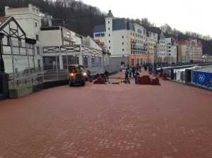 Bricks were laid and then re-laid in the resort town of Rosa Khutor.