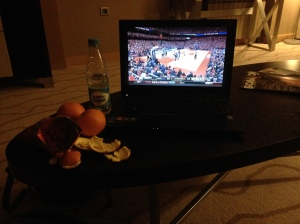 Watching the drama of Syracuse basketball in the middle of the night.