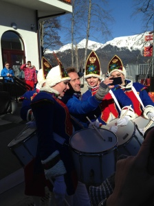 Correspondent Ben Fogle taking a #SochiSelfie with the famous Lady Drummers of the Athletes' Village.