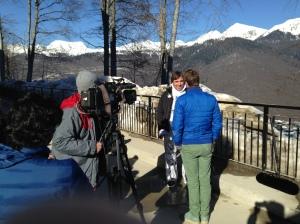 NBC SportsDesk correspondent Ben Fogle interviewing Mexican skier Hubertus von Hohenlohe.