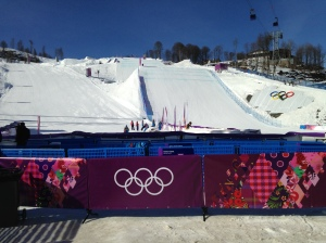 The finish area for the Slopestyle, PGS and Sno-Cross events.