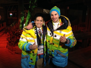 German ski slopestyle athlete Benedikt Mayr showing off Team Germany's Ceremonial Jackets.