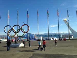 The Olympic rings and cauldron at Sochi Olympic Park.