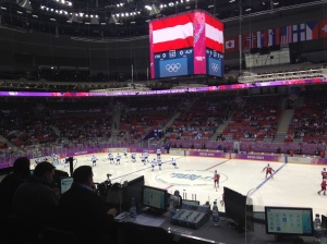 My view of the men's preliminary game between Finland and Austria.