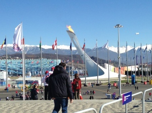 From the steps of Bolshoy, the Iceberg Skating Palace can be seen in the distance past the Olympic Cauldron.