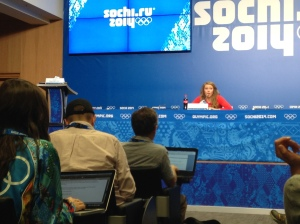 Mikaela Shiffrin answering questions at a press conference before her competition.