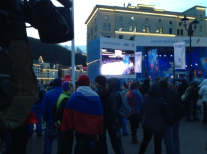 Crowds gather in Rosa Khutor to watch the USA-Russia men's hockey game.