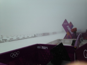 The foggy finish line at the Laura Biathlon Center.
