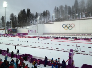 The view from the stands of the Laura Biathlon Stadium.